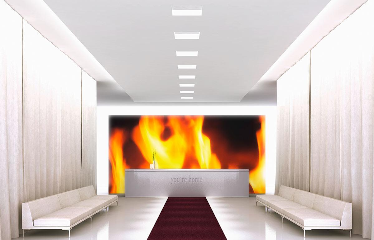 Produktdesign digitales kaminfeuer im hotel rue 199 in for Essen design hotel